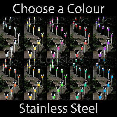 10 Colour Solar Lights Mini Post Stainless Steel Led Garden Outdoor Path Lamp