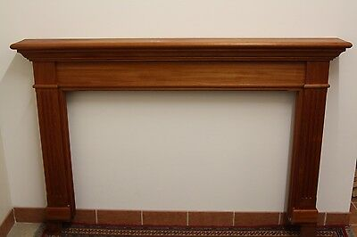 Vintage Excellent Teak Wood Extra Large Fireplace Surround Mantle