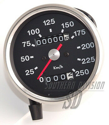 Smiths Repro Tacho km/h speedometer black face BSA Triumph 69-78 roter zeiger