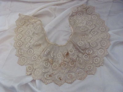"Beautiful Antique Net Lace Collar Bib Early Century E1900 L1800 6"" Inch Wide"