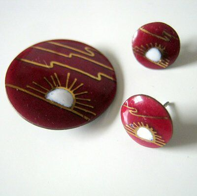 Vintage Claude Perrier Red Horizon Brooch and Pierced Earrings, Fashion Jewelry