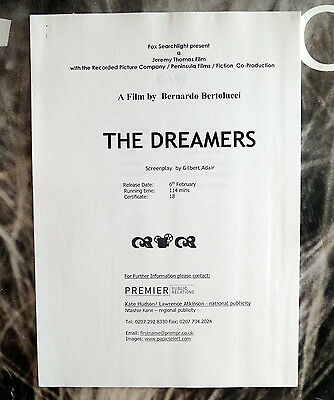 The Dreamers (2003) Movie Press Kit Michael Pitt, Louis Garrel, Eva Green