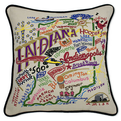 Indiana Hand-Embroidered Pillow
