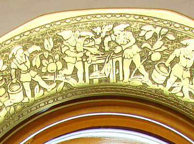 GOLD ON GLASS   SERVING PLATE   RAISED IMAGERY OF GNOMES   golden dish embossed