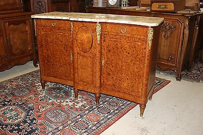Beautiful  French Antique Pearl Walnut Marble Top Sideboard / Buffet / Server.