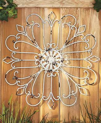 Distressed Vintage Look Metal Wall Medallion Scroll Antique White NEW