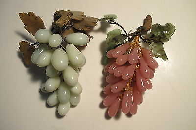 Lot of 2 Vintage Chinese Grape Clusters Green Jade & Pink Glass