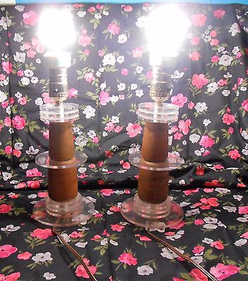 Pair Of Vintage Wood and Lucite Lamp  Mid Century Modern,Retro