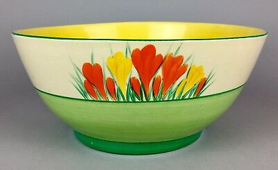 Large Clarice Cliff -Sungleam- Wilkinson Bizarre Crocus Salad Serving Bowl Dish