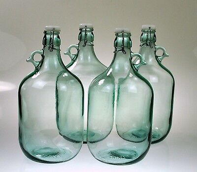 4x Glass Flagon Bottle 5L Swing Top Clip Top Demijohns Home Brew Gallon Jars