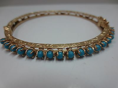 14K Solid Y. Gold Turquoise Beads Bangle Bracelet w/ Hinged Clasp Safety Lock