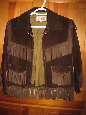 Vintage Simco Suede Leather Fringed Jacket Western Childs 10