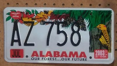 """2003 Embossed Alabama Our Forest...Our Future License Plate """"AZ758"""""""