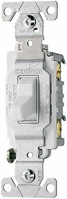 Cooper 15A 120/277V Commercial Grade Single Pole AC Compact Toggle Switch White