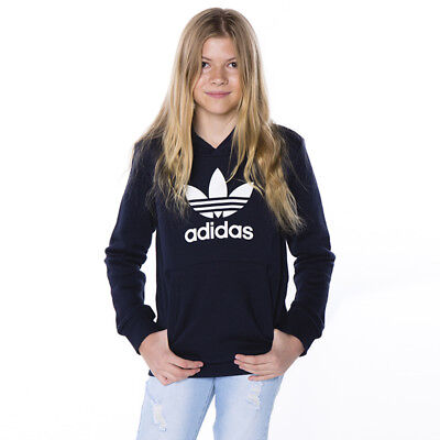 adidas Girls TRF Hooded Sweatshirt in Black