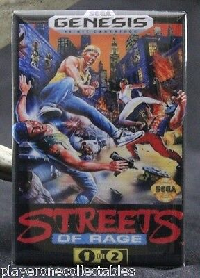 "Streets of Rage Sega Genesis Game Box 2"" X 3"" Fridge Magnet. Vintage Video Game."