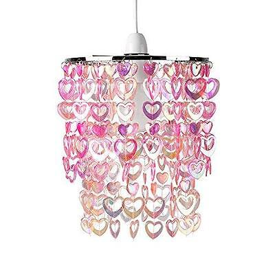 Love Heart Beads Ceiling Pendant Children's Light Shade Chandelier Pink Acrylic