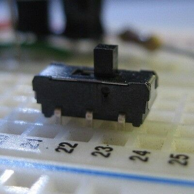 Pack of 3 - DPDT Micro Slider Switch 0.30 Amp 6 VDC On-On Breadboard Friendly