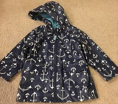 Toddler Rain Coat. Navy With White Anchors. Hooded. Cherokee. Size 18 Months.