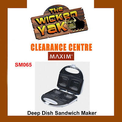 Maxim Deep Dish Non-Stick Sandwich Maker+Jaffles SM065 FREE SHIPPING- NEW!