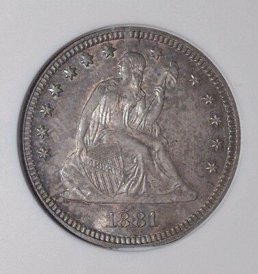 1881 Seated Liberty Quarter ANACS MS-64  Problem Free