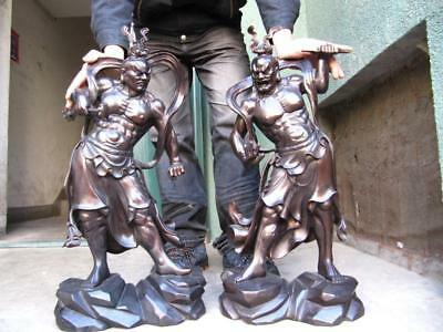 "26""Japan 100% Pure Bronze Door deity Deva kings Heng Ha Two warrior Statue Pair"