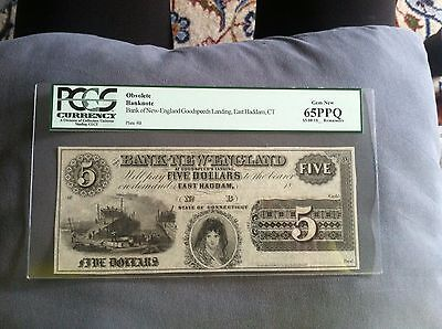 $5 Obsolete Banknote  Bank of New England Goodspeeds Landing, East Haddam,PCGS65