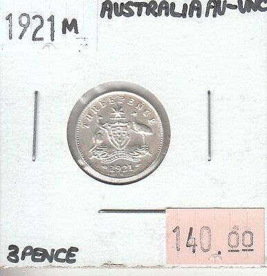 Australia 3 Pence 1921 M Silver AU Almost Uncirculated