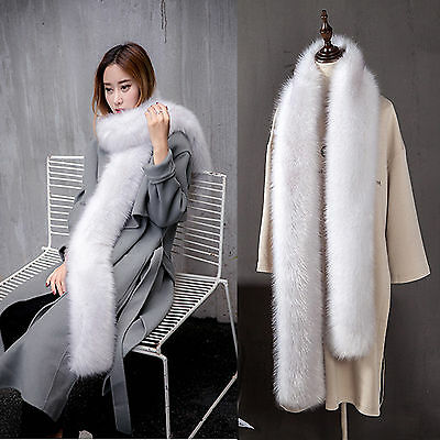 New Soft Long Faux Fur Scarf Fluffy Collars Winter Warm Neck Wrap Stole Shawl 10