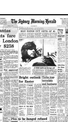 Sydney Morning Herald Front Page Photograph 31st March 1972