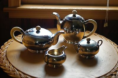Antique Modernist 4 Piece Sterling Hanau Tea and Coffee Service - Over 51 ounces