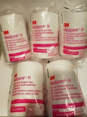 "(5 ROLLS) 3M Medipore H Soft Cloth Surgical Tape 4"" x 10 Yards #2864"