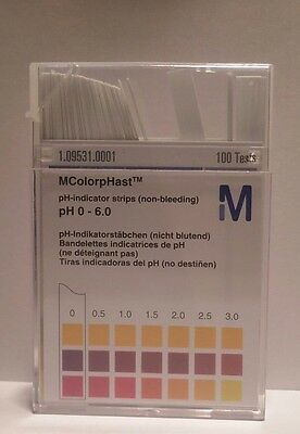 100 pH Indicator Test Strips pH 0-6.0 Non Bleeding High Quality Commercial Grade