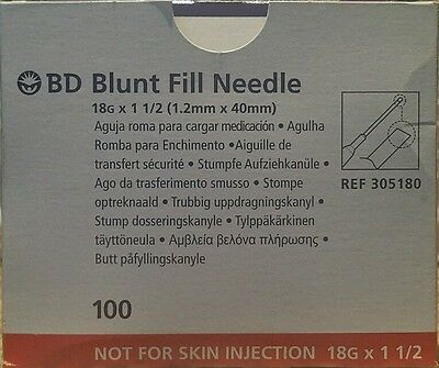 100x BD Blunt Fill Mixing Needles 18G X 1.5 INCH 1.2 X 40mm
