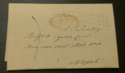 Italy 1841 Letter Cover Napoli Superb!