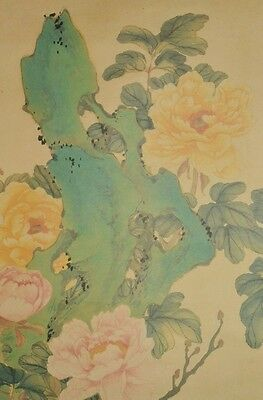 Chinese Hanging Scroll Painting Flower China Peony Print Picture Antique b270
