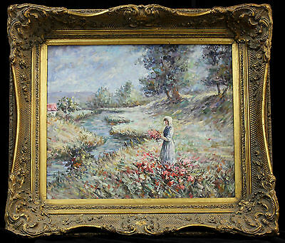 Oil painting Original impressionist-style landscape with classic antique frame