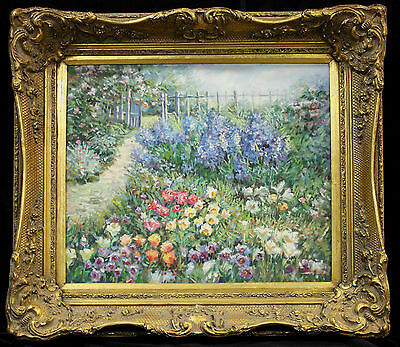 Original oil painting of stunning garden Vintage with classic antique frame