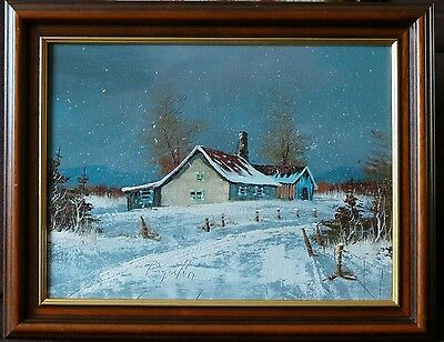 20th CENTURY OIL PAINTING. IMPASTO WINTER LANDSCAPE - SIGNED.
