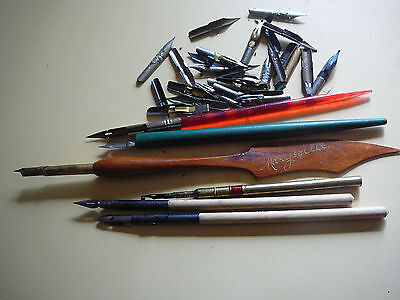vintage quill pens x5 plus bulk tips brass marysville wooden embossing most tips