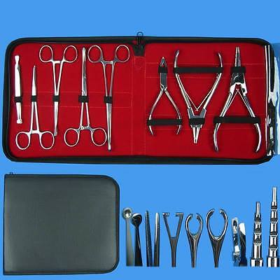 8 Pcs Set Pro Body Ear Tongue Navel Piercing Forceps Pliers Clamps Tools & Case