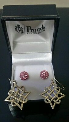 ×2 Real Silver 925 Earrings New from Prouds Jewellery Australia.