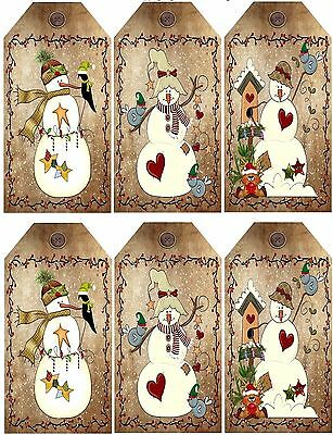 Primitive Snowman ~ Christmas Card Making Toppers -Tag Shape - Gloss Finish