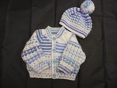 "New Hand Knitted Baby Cardigan & Hat ~ 16"" ~  Boy ~ (0 - 3 months) White / Blue"