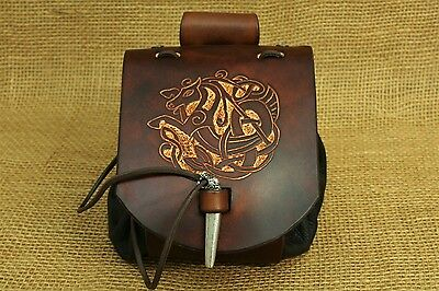 Belt Pouch Medieval Celtic Horse Embossing Leather brown Viking pouch