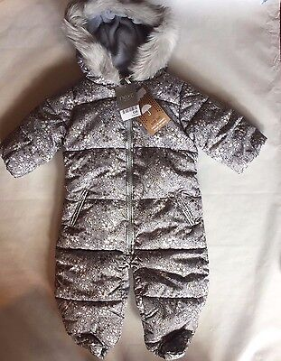 BNWT Next Snowsuit Hooded Floral Ditsy Grey Print Fur  Girl All In One Ski Suit