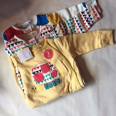 BNWT Next 3 Pack Sleepsuit Babygrow Girls All in One Romper Yellow Animals Spots
