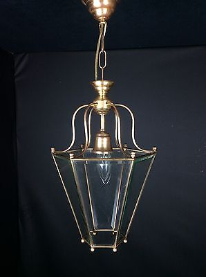 Very Attractive Vintage French One Light 6 Sided Vintage Brass Lantern Light