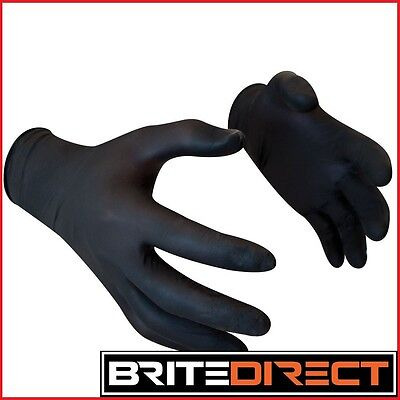 2 - 1000 STRONG Black Nitrile Gloves Powder Free Disposable Food, safety tattoo