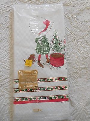 Vintage Holly Hobbie Crepe Christmas Tablecloth 54 X 96 New Old Stock 1973